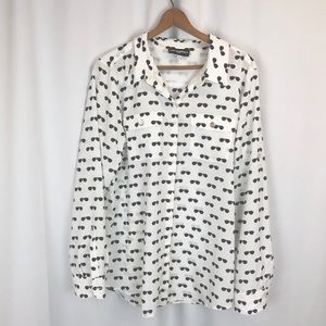 Karl Lagerfeld sunglasses print blouse button up